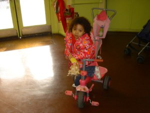 Emily can't wait to get off her bike at school each morning.