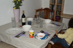 Table set semi-formal...complete with Mr Men