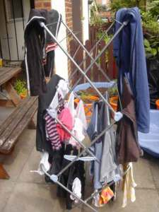 Much smaller and easier than the clothesline of my childhood.