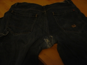 Mended jeans...not quite as good as new...but they will do for another few wearings