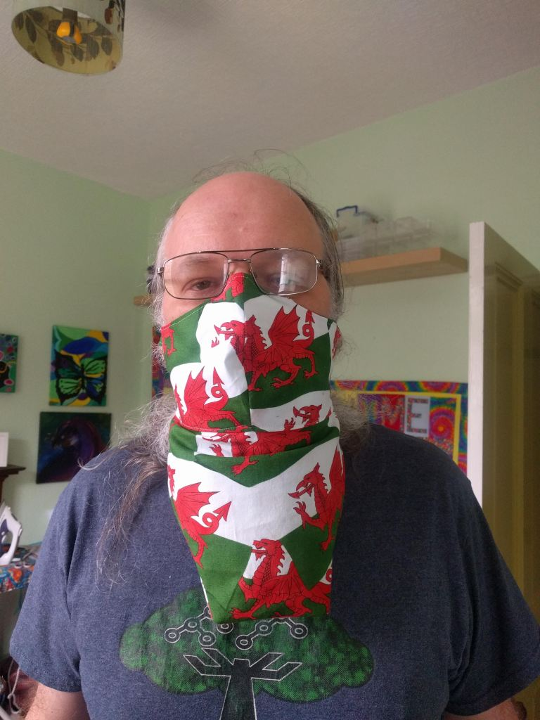 Alan Cox wearing the special beard mask that Tara made for him